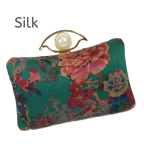 Silk Satin Clutch Purse Stylish Designer Luxury Floral Purse Party Purse Green