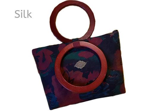 Silk Satin Wooden handle Stylish Designer Luxury Floral Purse Party Purse Zipper