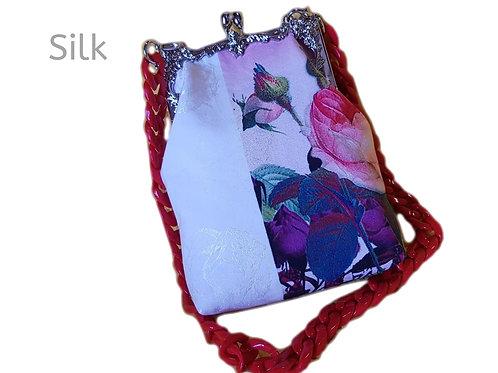 Silk Handcrafted Resin Handle Shoulder Bag Tote Bag Floral Pink