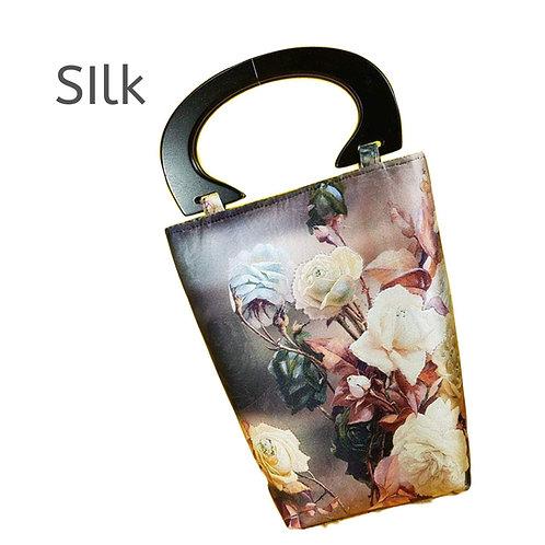 Tote Bag Wooden Handles Designer Silk Handbag Hand Stitch Luxury