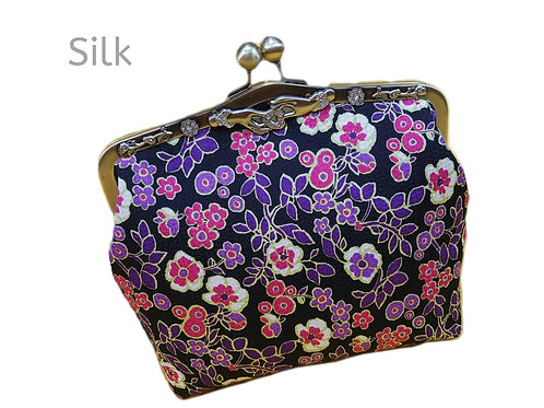 Vintage style clutch purse pure silk floral pattern clutch bag with chain