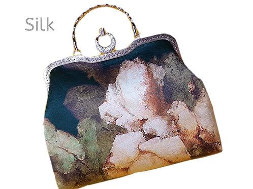 Satin Silk Handmade Alternate Handles Tote Bag Floral Sparkle Clutch Purse Large