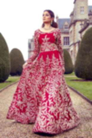 red velvet bridal gown indian pakistani