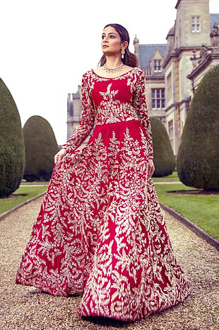 red velvet bridal gown indian pakistani