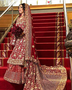 Red Pakistani Bridal Gown