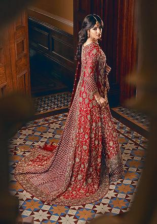 red bridal gown chiffon trail tail pakistani indian
