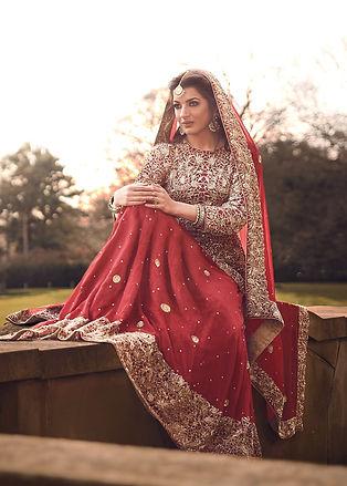 red bridal peplum lehenga pakistani chiffon