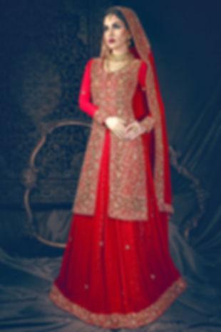 red bridal pakistani jacket