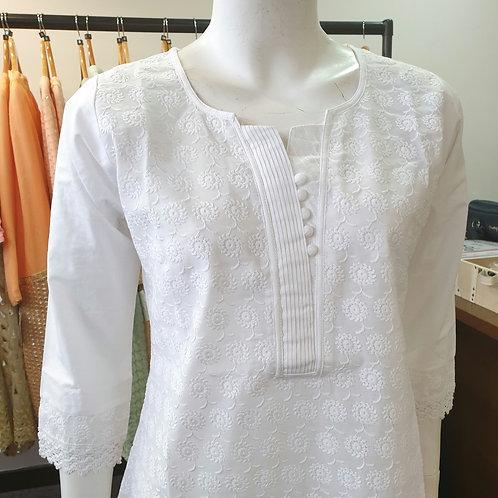 White Cotton Kurta MB1