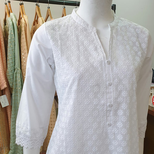 White Cotton Kurta CB1