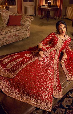 red bridal gown jacket indian pakistani chiffon