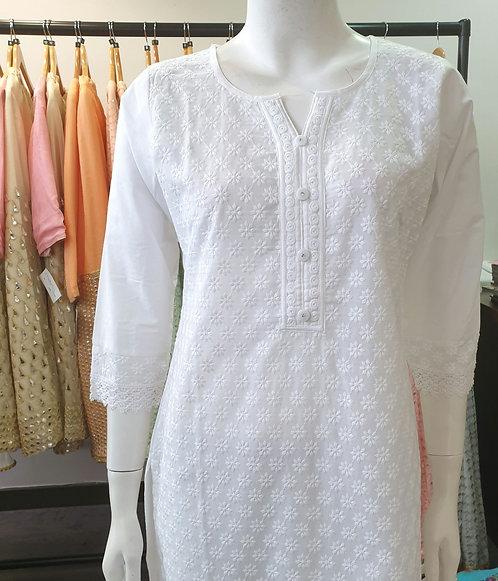 White Cotton Kurta SB1