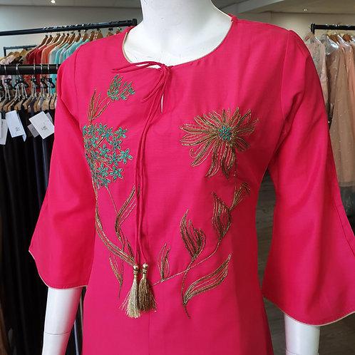 Fuchsia Dipped Hem Dress