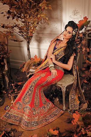 bridal lehenga red purple