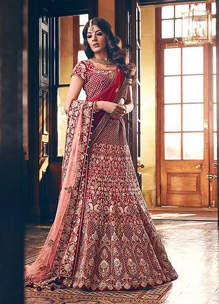 red peach bridal lehenga indian pakistani