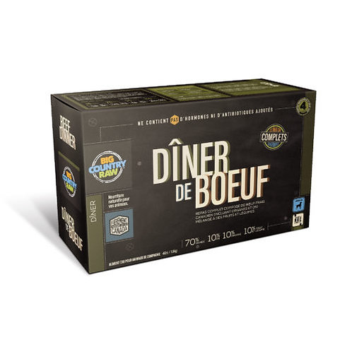 BIG COUNTRY RAW - FORMULE DÎNER - Boeuf - 4lbs (4 x 1lb)