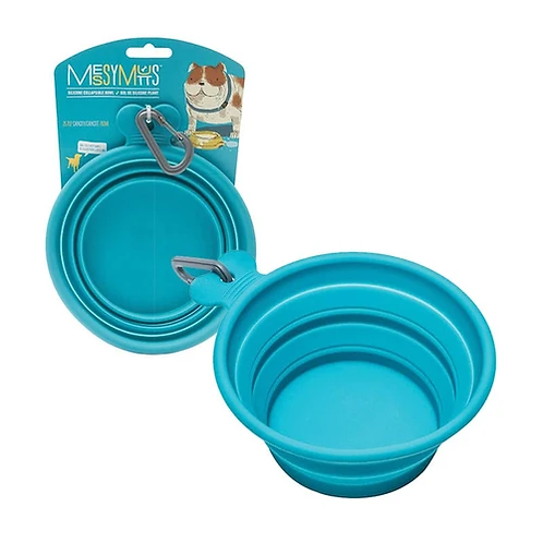 MESSY MUTTS - Bol Silicone Rétractable - Bleu