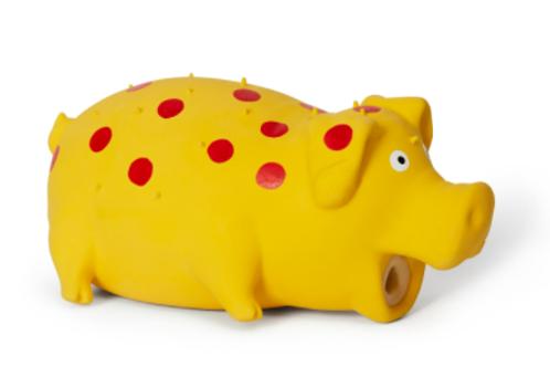 BUD'Z - Jouet Cochon à pois jaune ''Squeak'' en latex - 8''