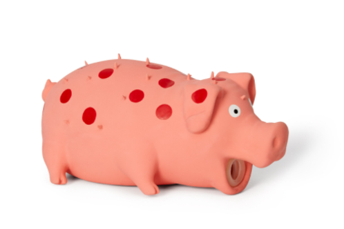 BUD'Z - Jouet Cochon à pois rose ''Squeak'' en latex - 8''