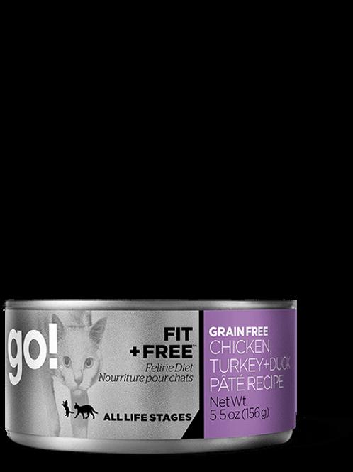PETCUREAN GO! - Fit + Free Pâté Poulet, Dinde et Canard 156g