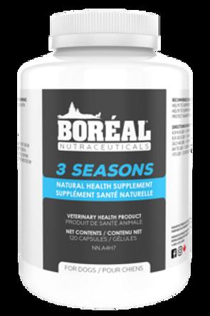 BORÉAL - Supplément Santé Naturelle 3 Seasons pour Chiens - 120 capsules