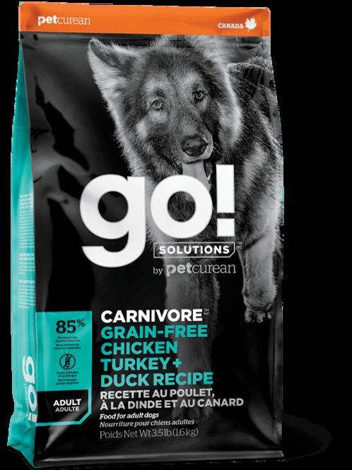 PETCUREAN GO! - Carnivore Sans Grains Adulte Poulet + Dinde + Canard 22lbs