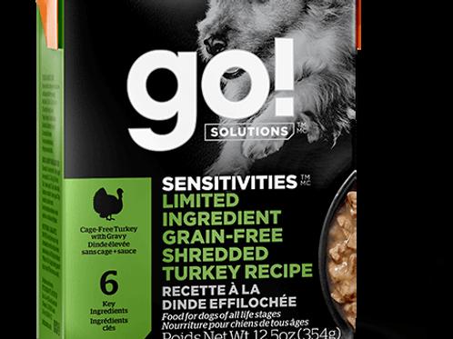 PETCUREAN GO! - Tetra Pak Ingrédients Limités Sans Grains Dinde Éffilochée 354g