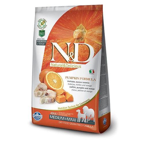 FARMINA - N&D Citrouille Moy/Grand Sans Grains Morue et Orange 26.4lbs