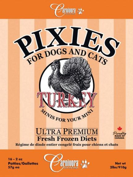 CARNIVORA PIXIES - FORMULE PUR - Dinde - Boite de 2 lbs - pour chiens et chats