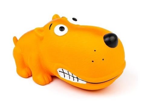 BUD'Z - Jouet Chien orange gros museau ''Squeak'' en latex - 7''