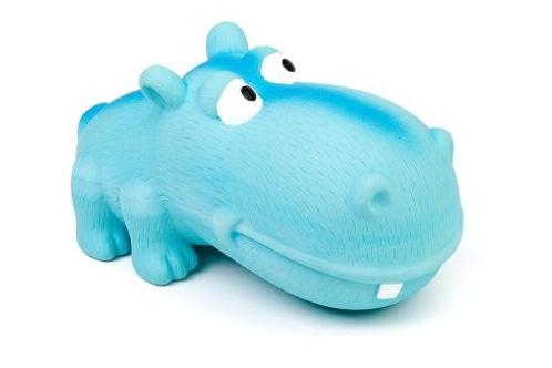 BUD'Z - Jouet Hippo bleu gros museau ''Squeak'' en latex - 7''