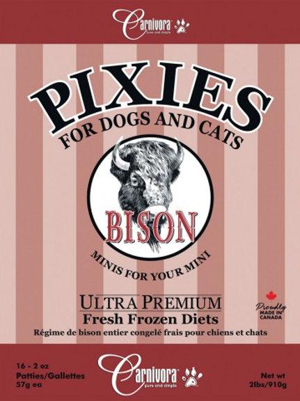 CARNIVORA PIXIES - FORMULE PUR - Bison - Boite de 2 lbs - pour chiens et chats