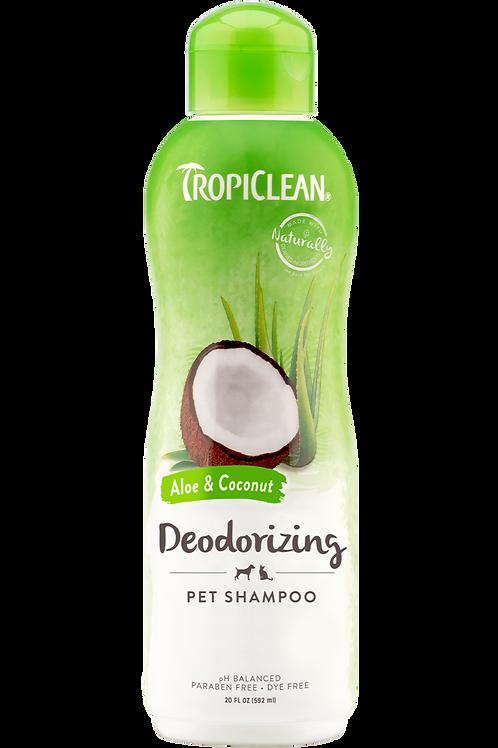 TROPICLEAN - Shampoing *Désodorisant* Aloès et noix de coco 20oz