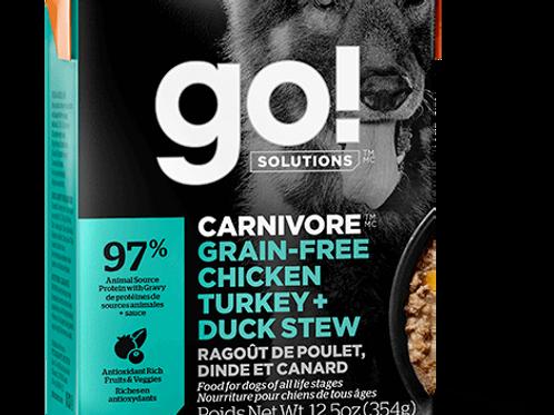 PETCUREAN GO! - Tetra Pak Carnivore Sans Grains Poulet,Dinde,Canard 354g