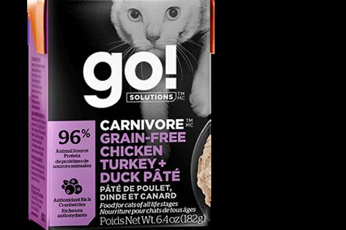 PETCUREAN GO! - Tetra Pak Carnivore Sans Grains Pâté Poulet,Dinde et Canard 182g