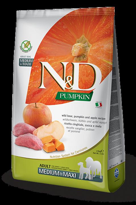 FARMINA - N&D Citrouille Moy/Grand Sans Grains Sanglier et Pomme 26.4lbs