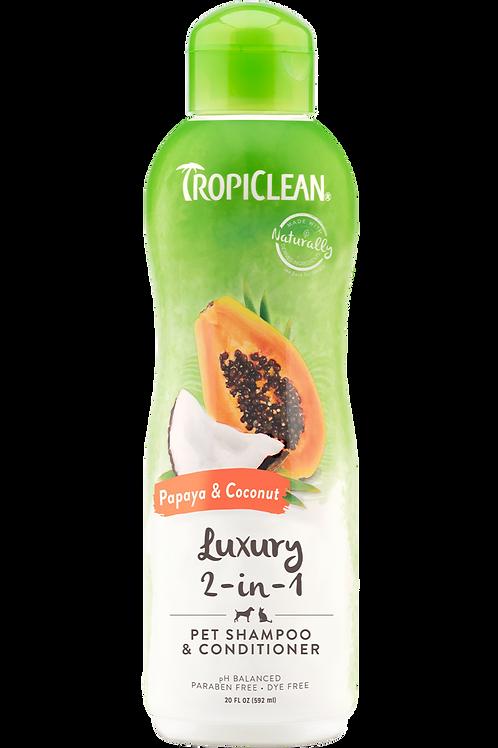 TROPICLEAN - Shampoing *Luxueux 2 en 1* Papaye et Noix de Coco 20oz