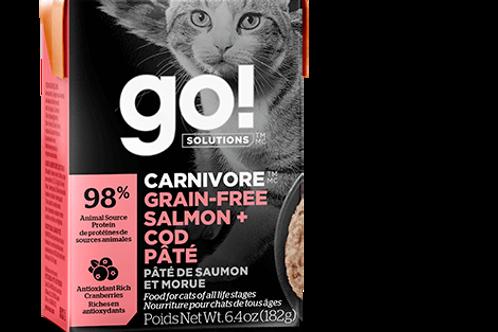 PETCUREAN GO! - Tetra Pak Carnivore Sans Grains Pâté Saumon et Morue 182g