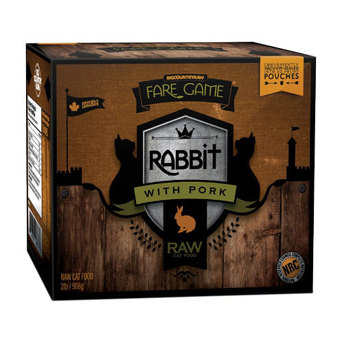 BIG COUNTRY RAW - FARE GAME CHAT-Lapin et Porc - 2lbs (4 x 1/2lb)