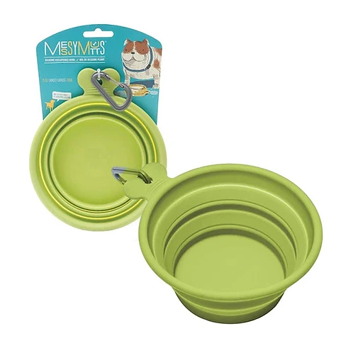 MESSY MUTTS - Bol Silicone Rétractable - Vert