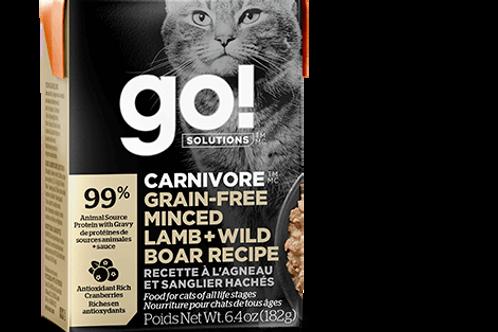 PETCUREAN GO! - Tetra Pak Carnivore Sans Grains Agneau et Sanglier Hachés 182g