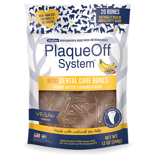 ProDen PlaqueOff - Os Dentaire MINI Beurre d'arachide et Banane  - 340g