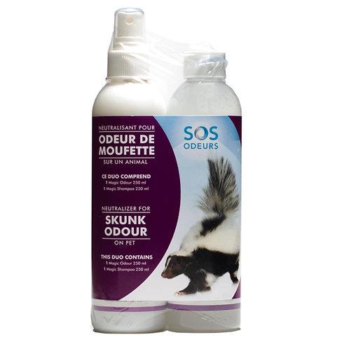 SOS ODEURS - Duo Magic Shampooing et neutralisant d'odeurs de moufette