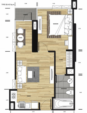 1 bedroom 45 sq.m.