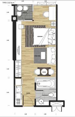 1 bedroom 32 sq.m.