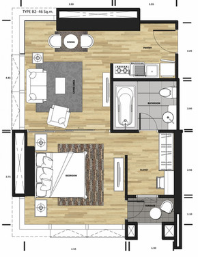 1bedroom 45 sq.m.