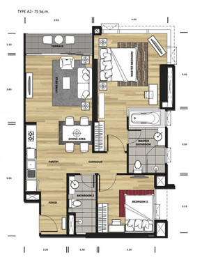 1 bedroom 45 sqm.