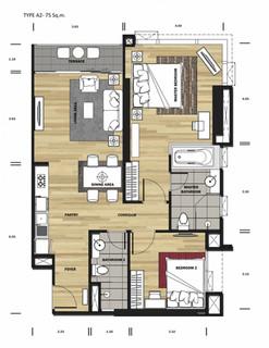 1 bedroom 45 sqm.
