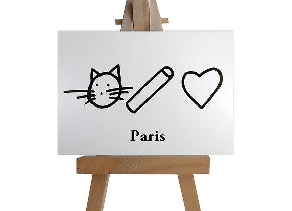 Chat craie cœur