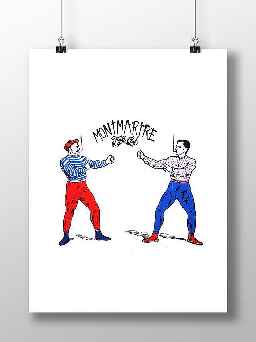 Affiche sérigraphie Montmartre Fight Club